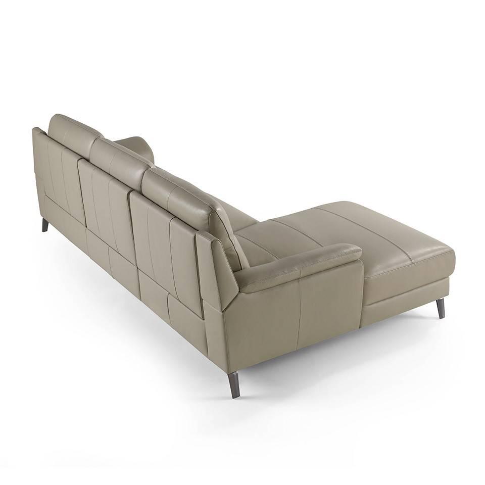 Canap d 39 angle capitonn en cuir et pieds en acier inoxydable mobilier - Canape d angle capitonne ...
