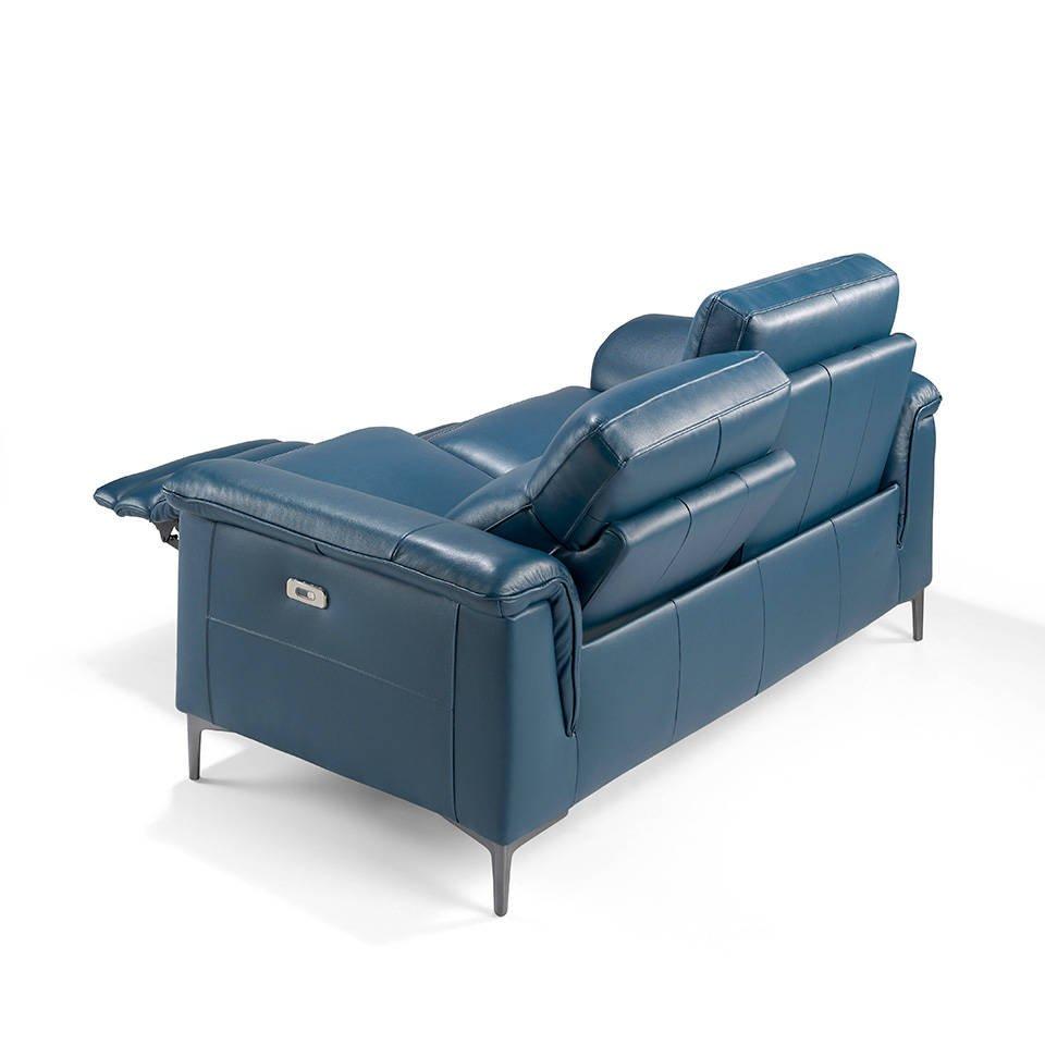 Canap 2 places capitonn en cuir avec 2 x m canismes relax lectrique et pieds en acier - Canape cuir capitonne ...