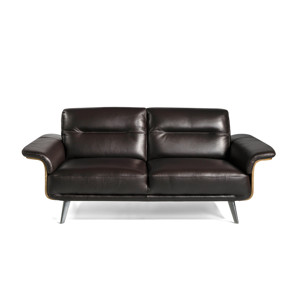 3-seat sofa upholstered in leather with a wooden structure with Walnut plating