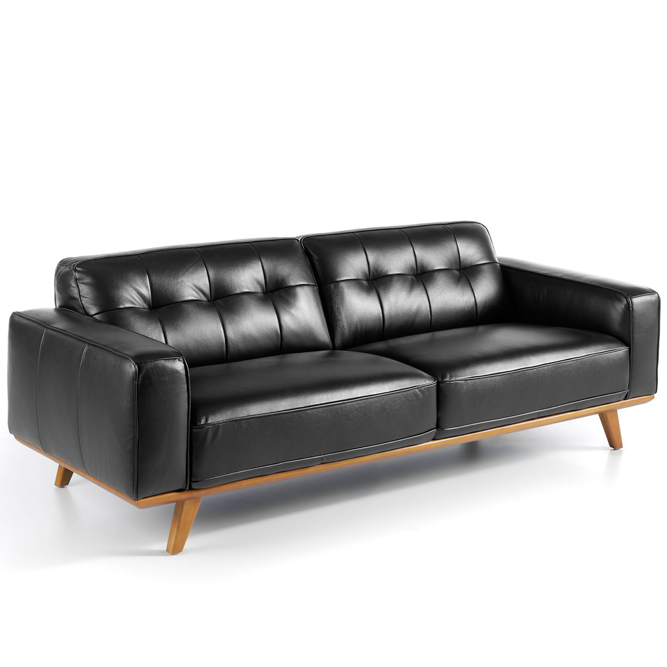 3-seater sofa upholstered in tufted leather