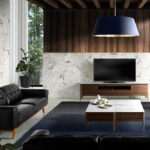 3 seat leather upholstered sofa with solid walnut legs