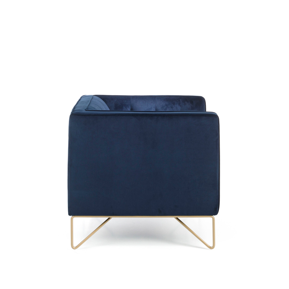 2-seater sofa upholstered in velvet with golden steel legs