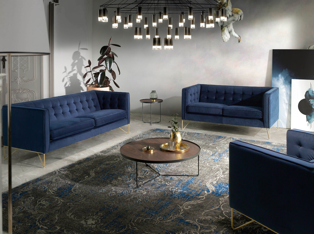 3-seater sofa upholstered in velvet with golden steel legs