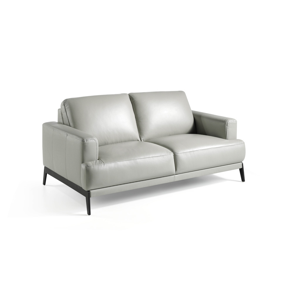 Canapé 2 places en cuir avec pieds en acier inoxydable