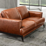 2 seat sofa upholstered in 2mm thick leather
