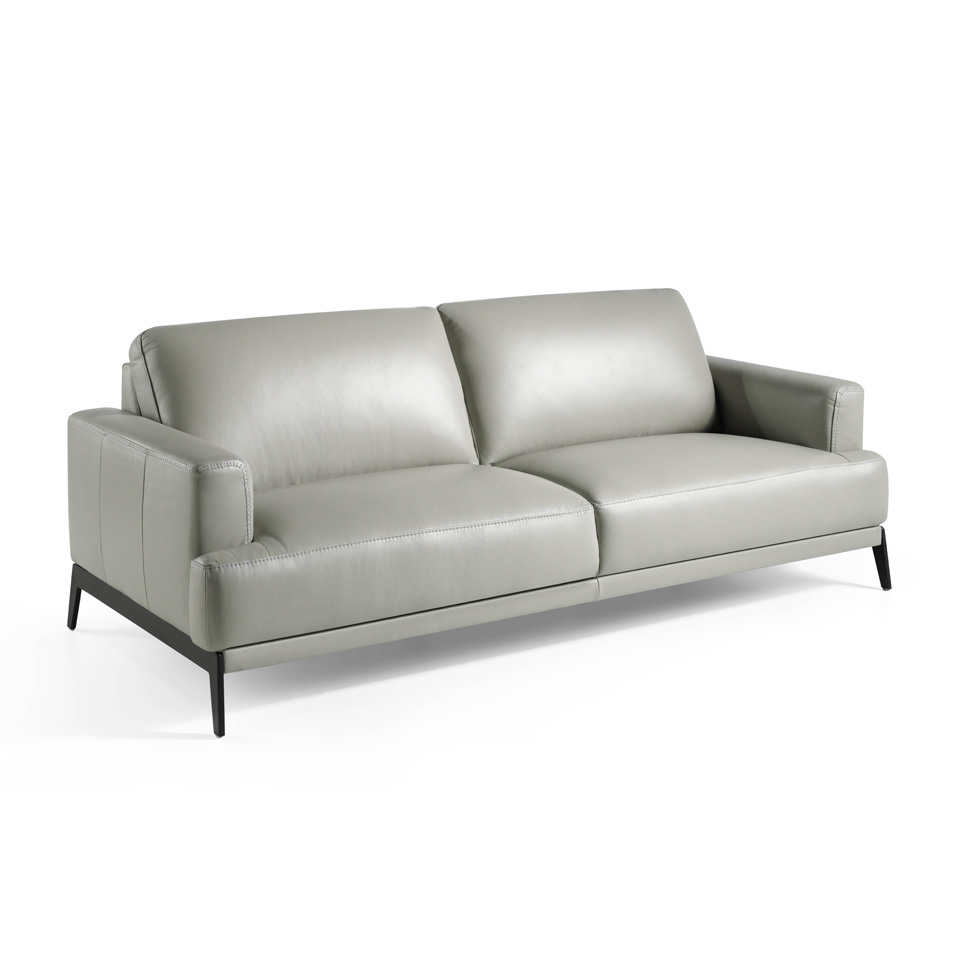 Canapé 3 places en cuir avec pieds en acier inoxydable