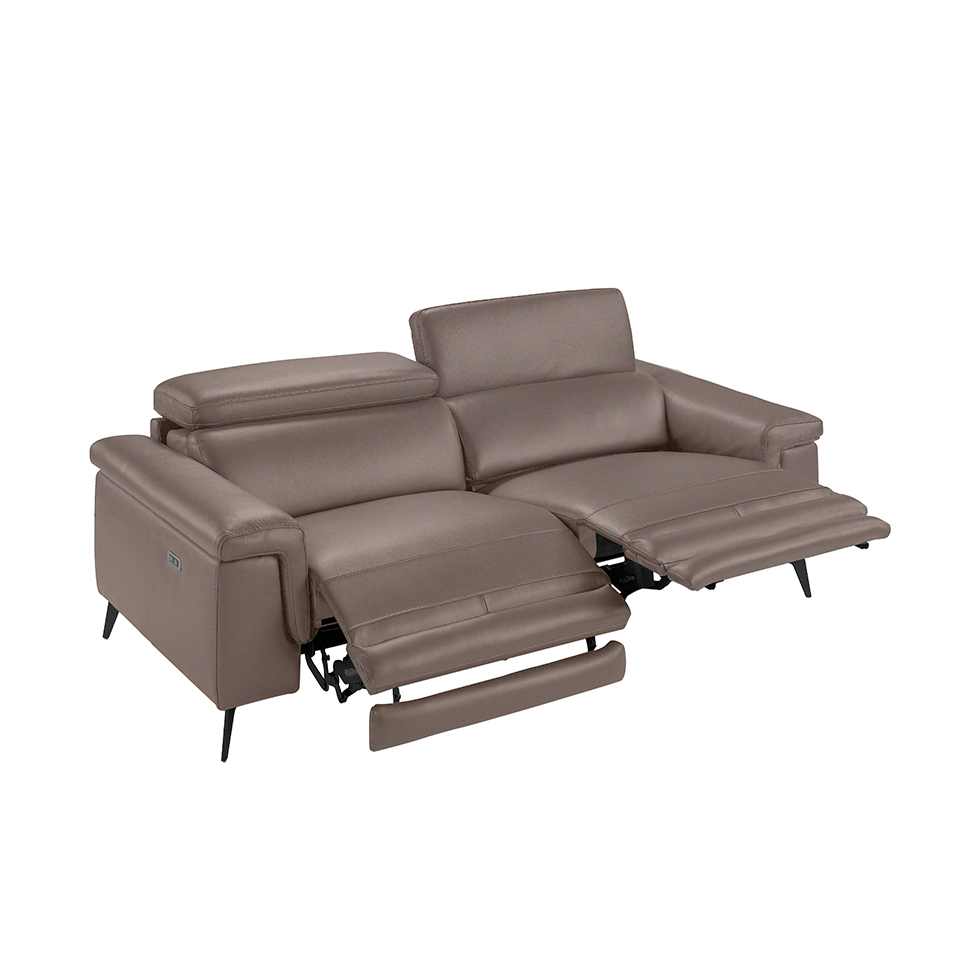 3 seater sofa upholstered in mink colour and black walnut wood finish