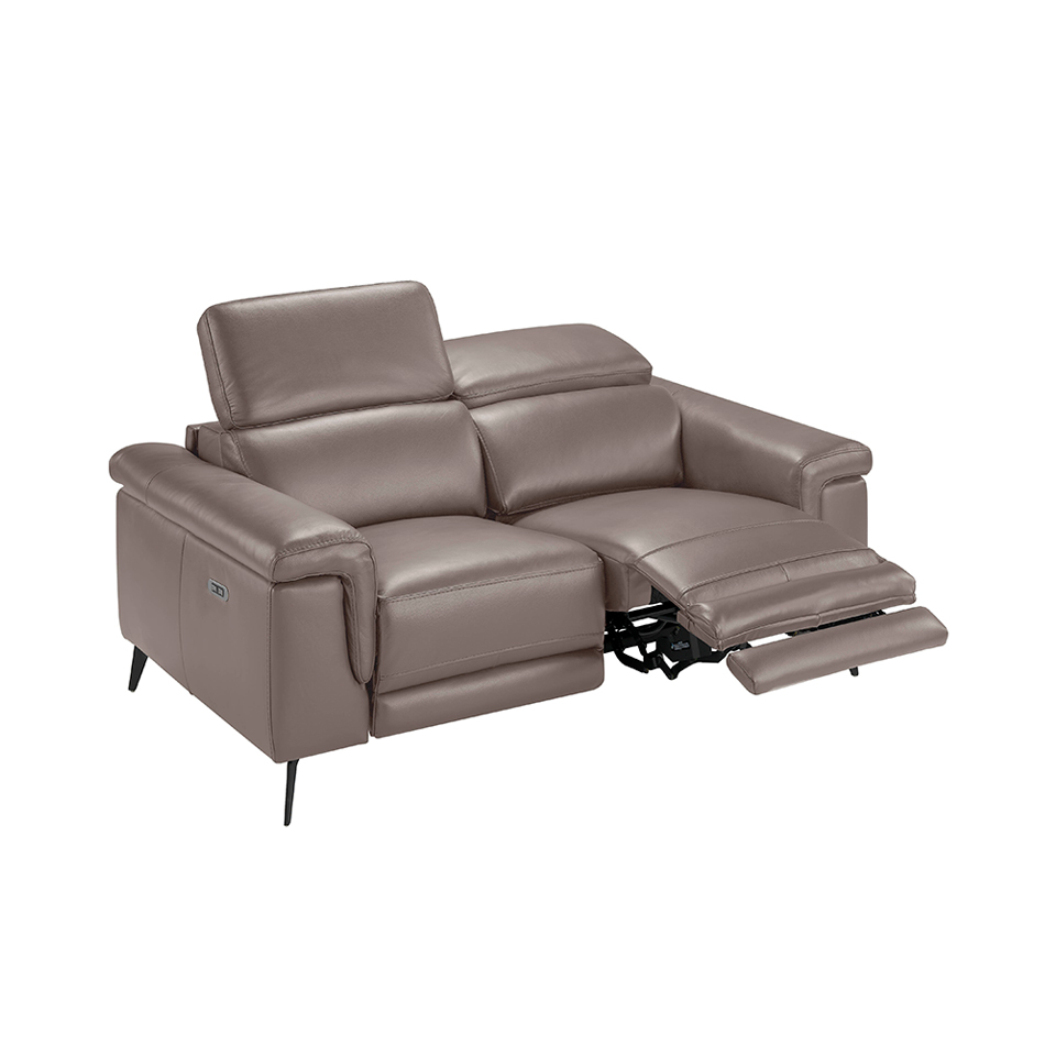 2 seater sofa upholstered in mink coloured cow leather and black steel legs.