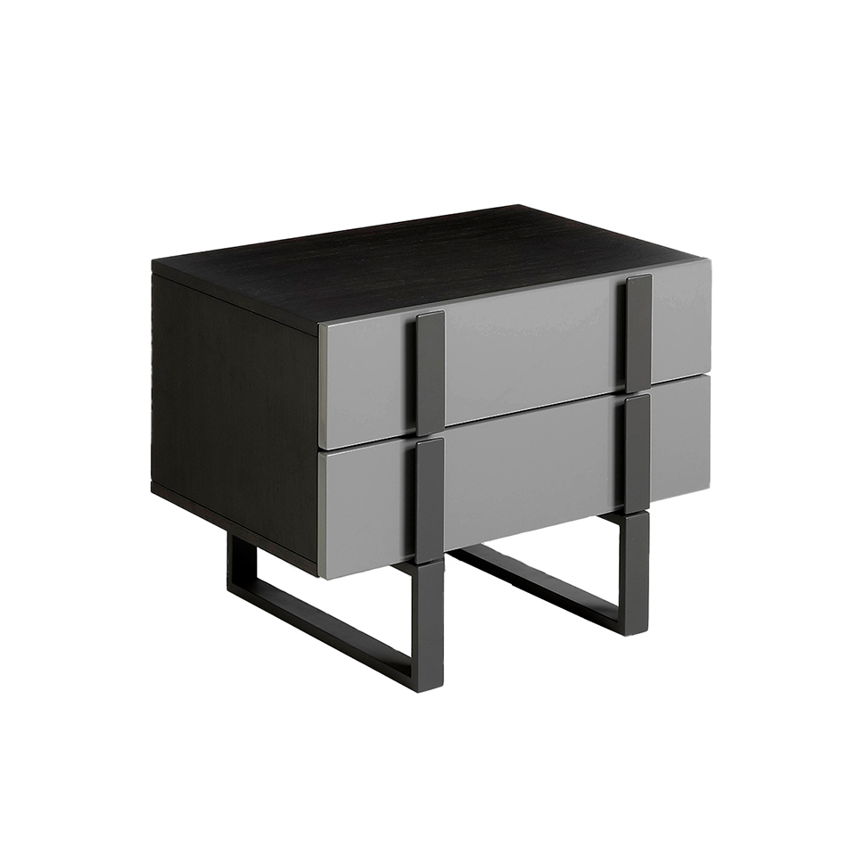 Wenge wood and gray steel bedside table