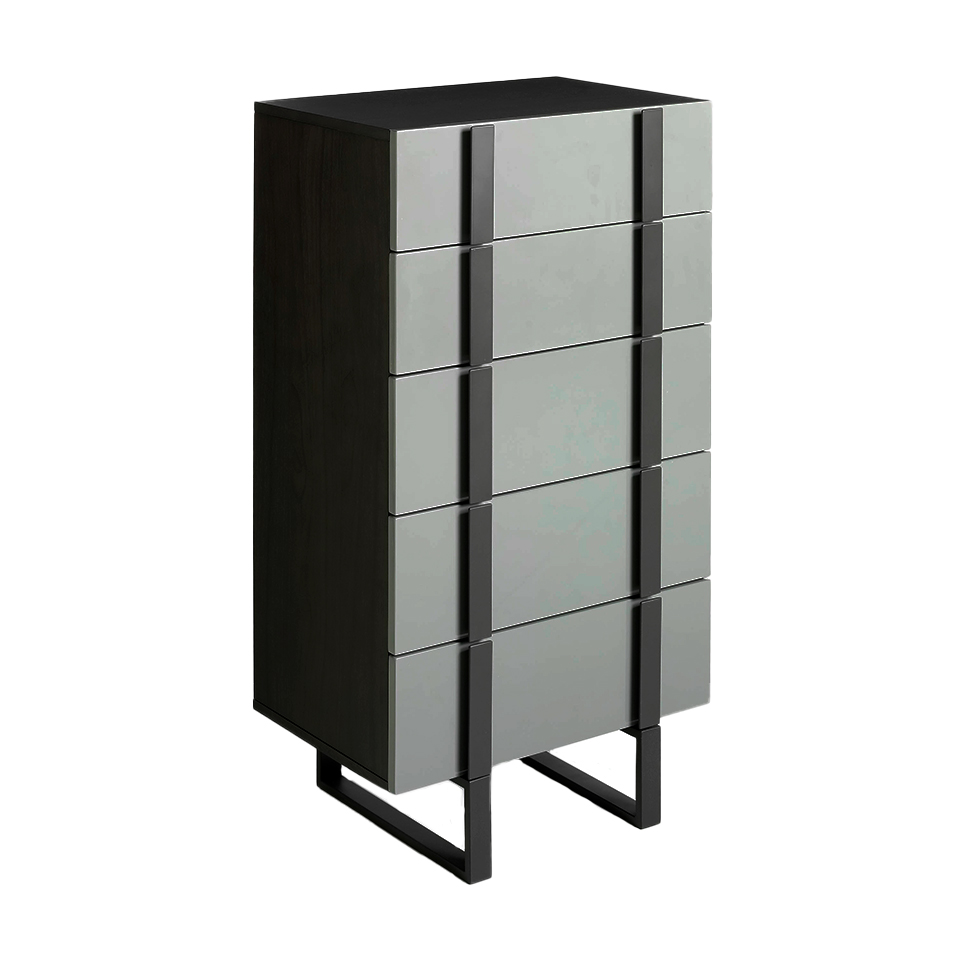 Chiffonier in Wenge wood and gray steel