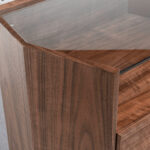 Hexagonal nightstand in walnut wood and tempered glass