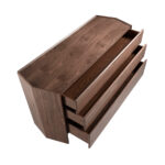Hexagonal chest of walnut wood and tempered glass
