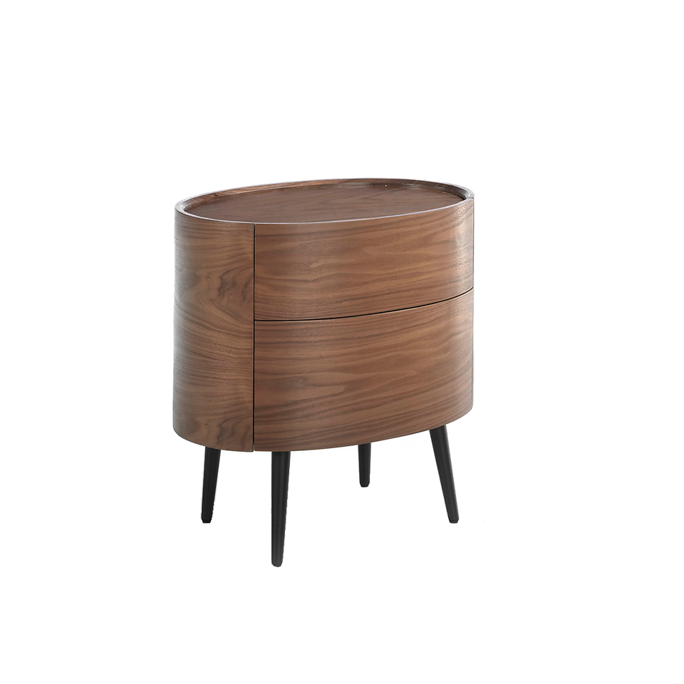 Oval bedside table made of walnut-veneered wood with 2 hidden drawers. Wooden legs painted in black.