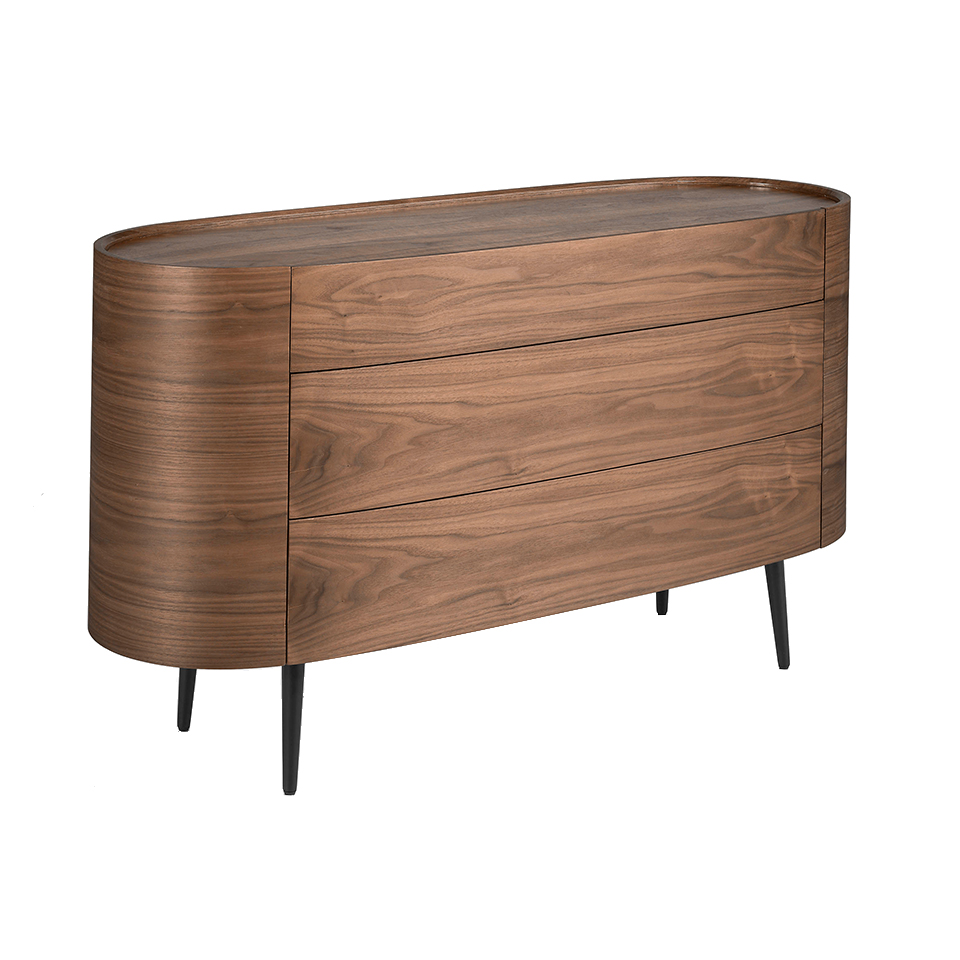 Oval chest of drawers in walnut-colored wood and black legs