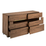 Walnut wood chest of drawers with interior led lighting