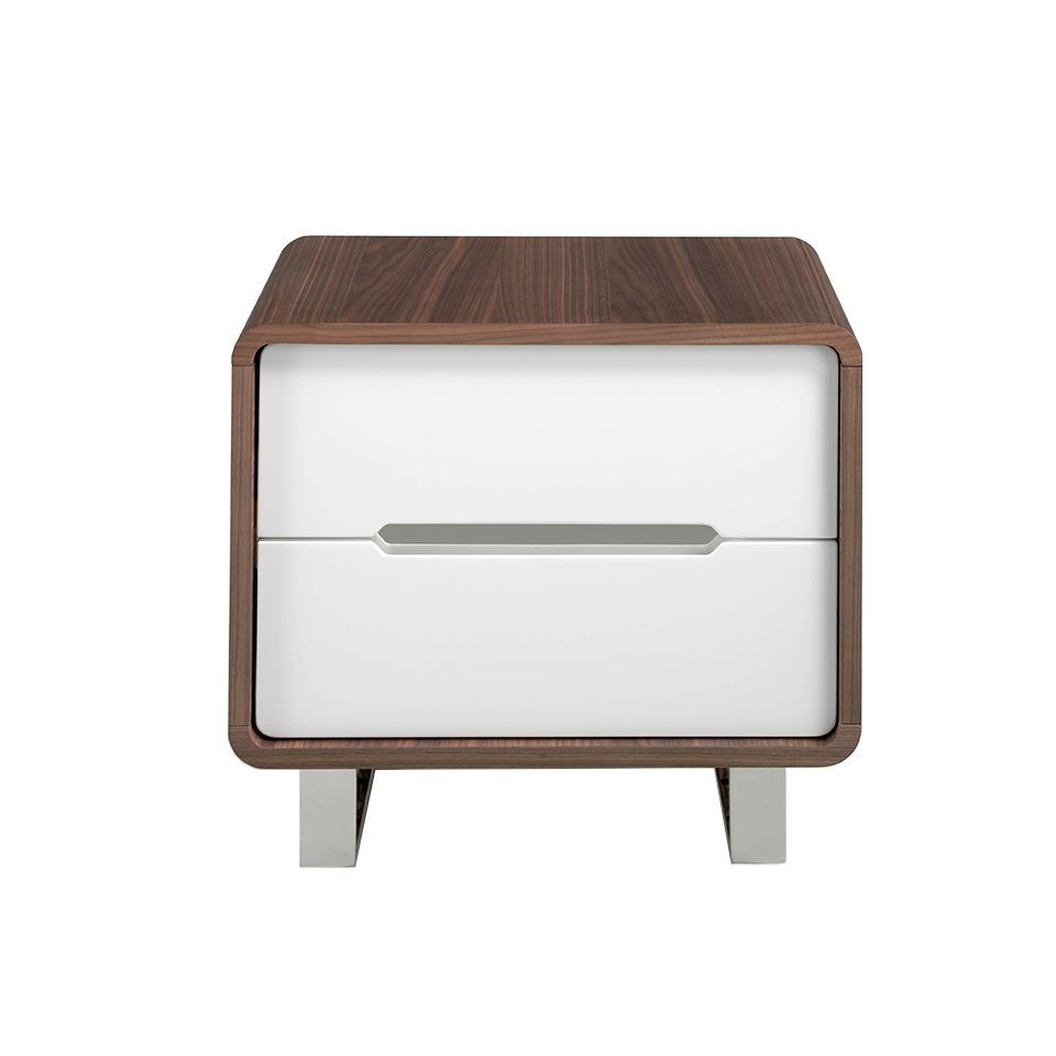 Walnut wood Nightstand with white drawers and chrome steel