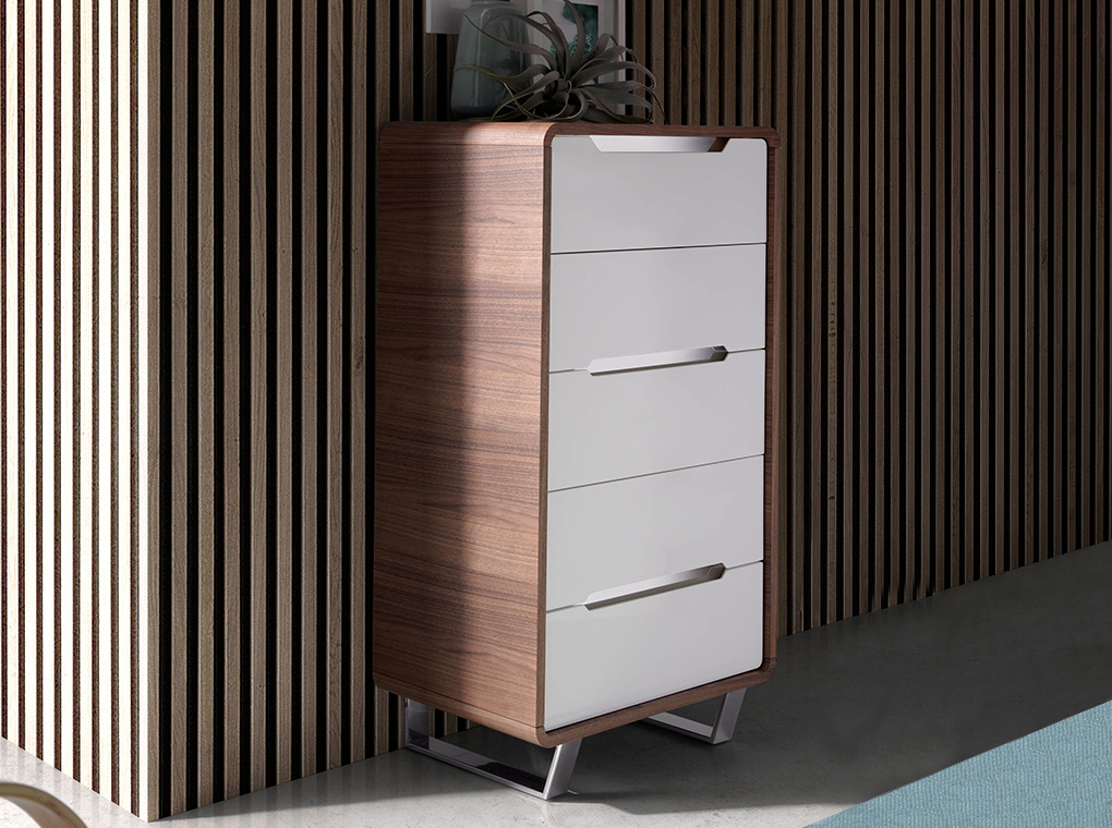 Walnut wood chiffonier with white drawers and chrome steel