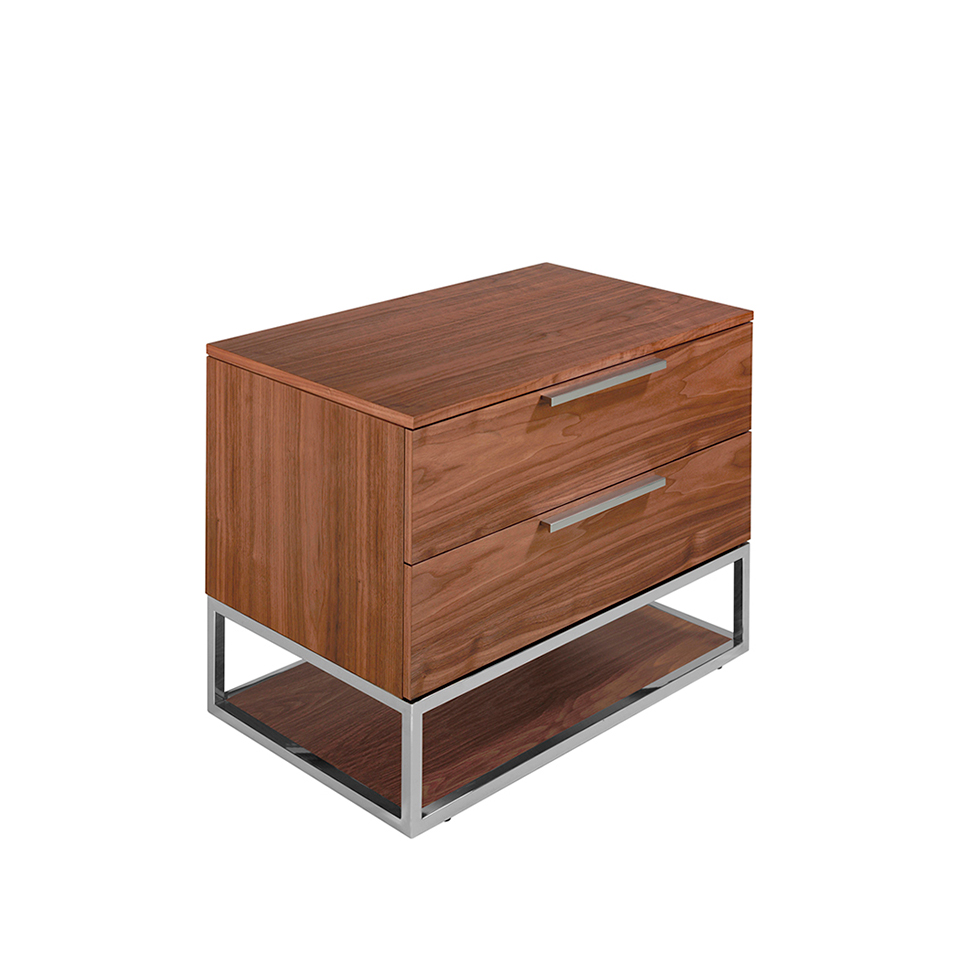 Table de chevet en bois de noyer et acier chromé