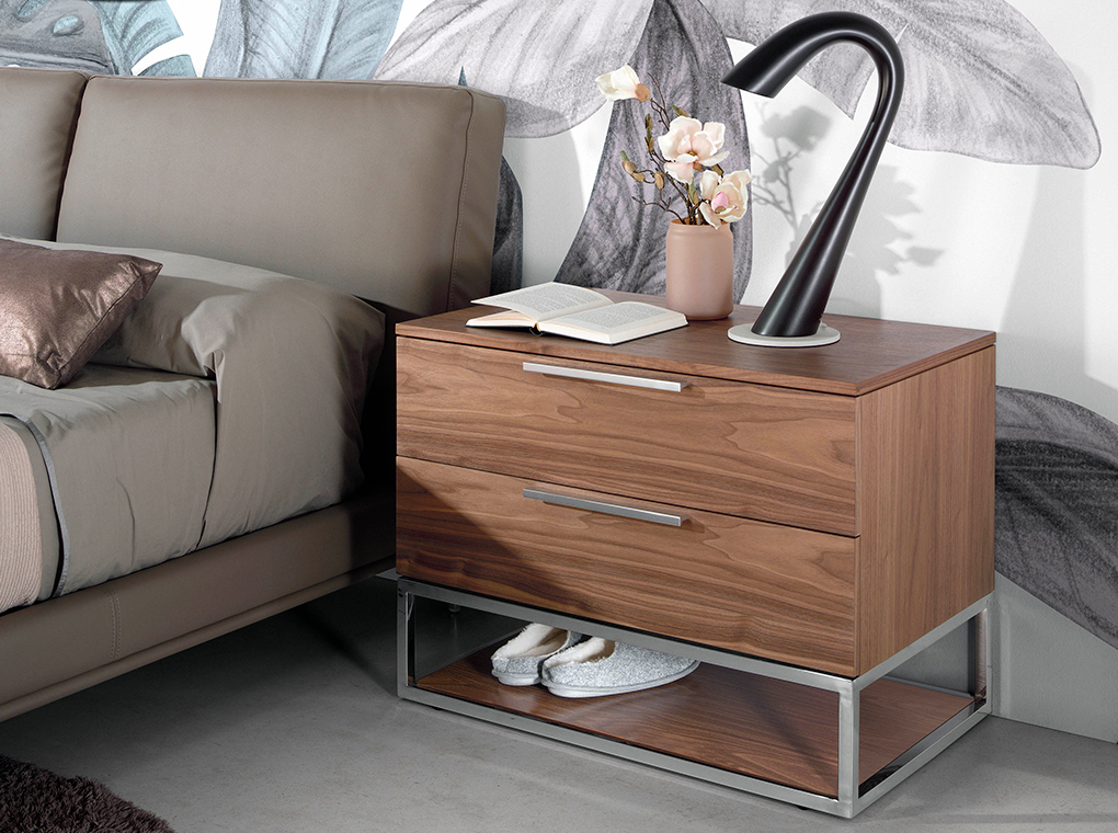 Bedside table walnut wood and chromed steel