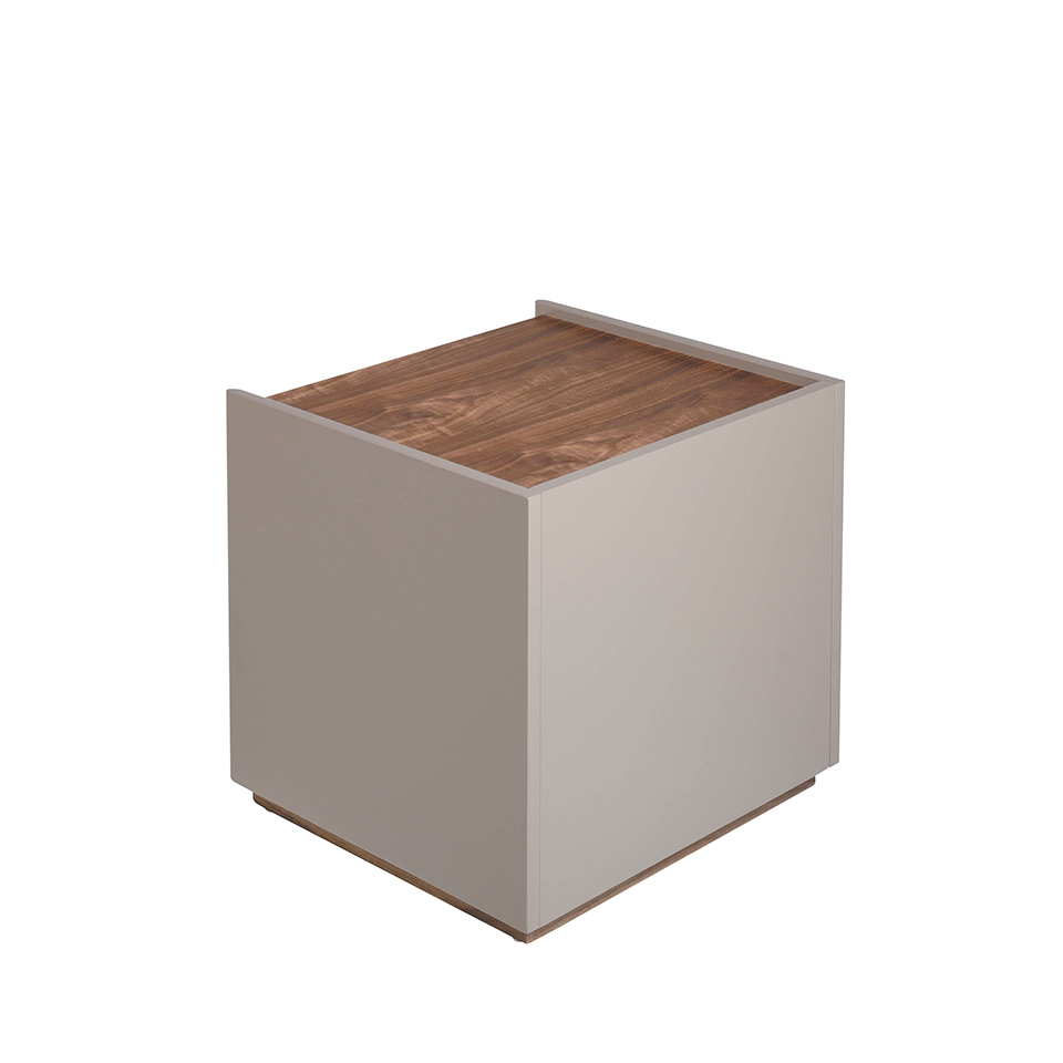 Bedside table walnut wood and MDF lacquered