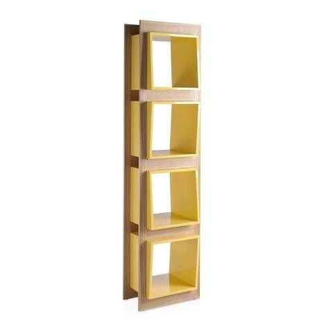 Bookshelves in Oak wood and laquered Mdf drawers