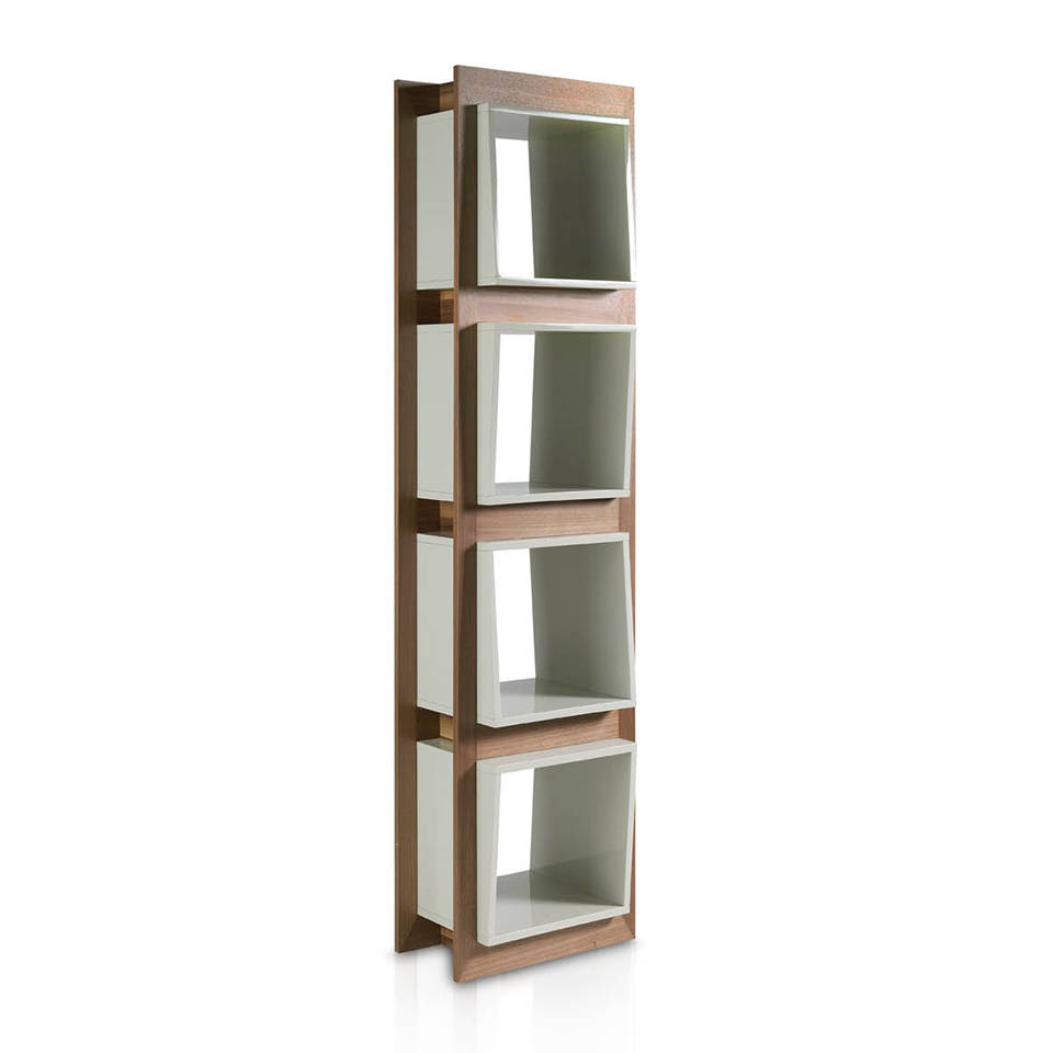 Walnut wood shelf and Pearl Gray cube