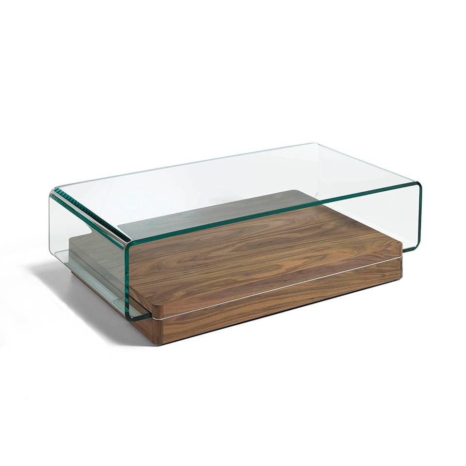 Curved tempered glass and walnut wood coffee table