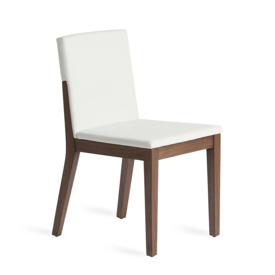 Chair upholstered in leatherette and Walnut colored wooden structure