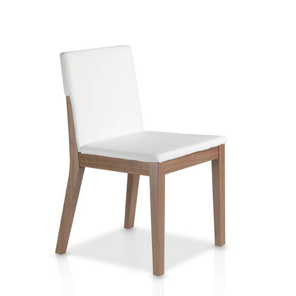 Silla en madera chapada de nogal con asiento tapizado