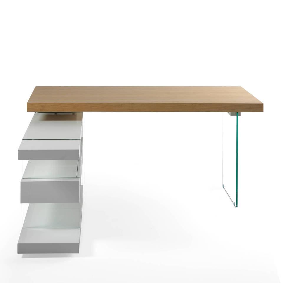 bureau en ch ne avec c t s en verre tremp angel cerd s l. Black Bedroom Furniture Sets. Home Design Ideas