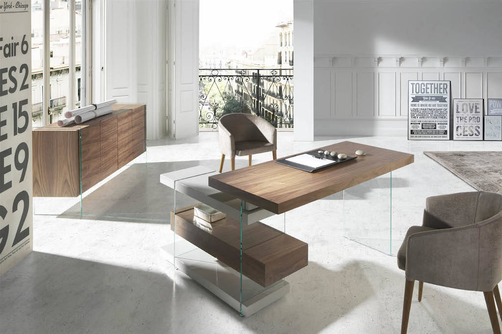 Walnut wood desk and tempered glass