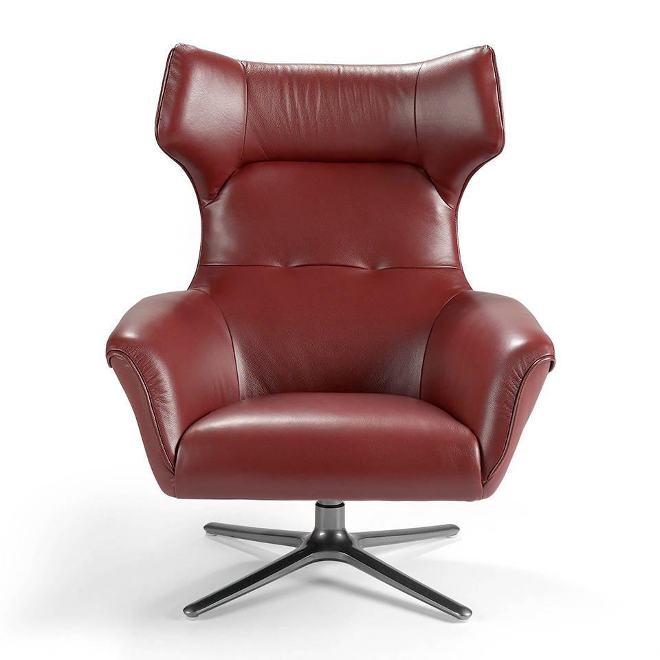 Fauteuil pivotant capitonn en cuir avec pieds en acier inoxydable mobilier - Fauteuil cuir capitonne ...