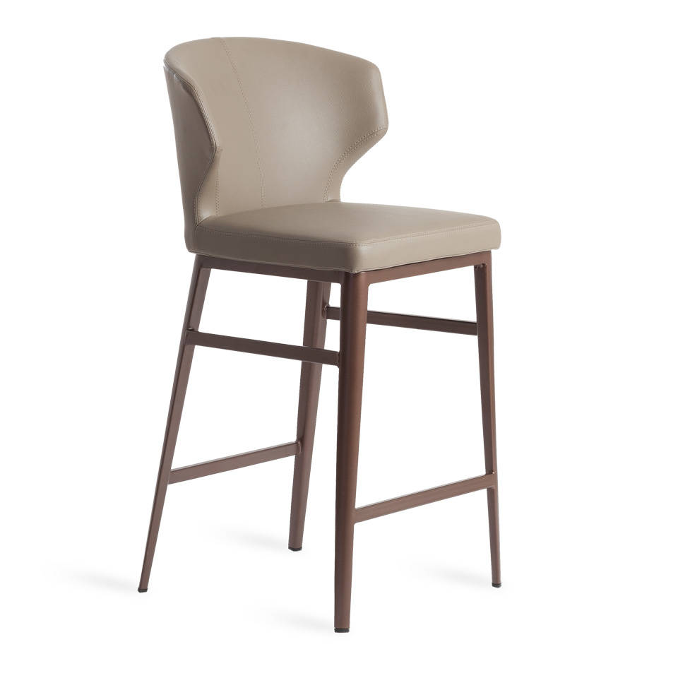 Leatherette upholstered stool with bronze steel frame