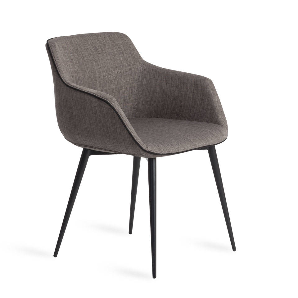Upholstered chair with steel structure.