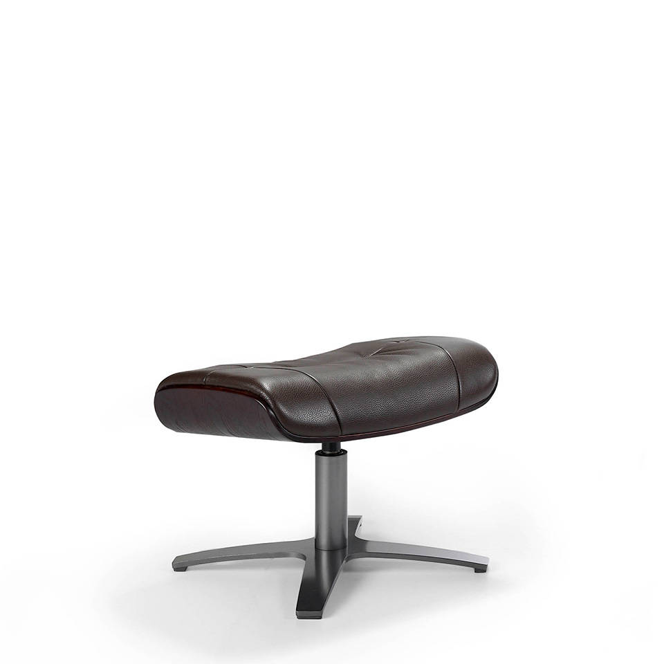 Swivel Ottoman upholstered in leather