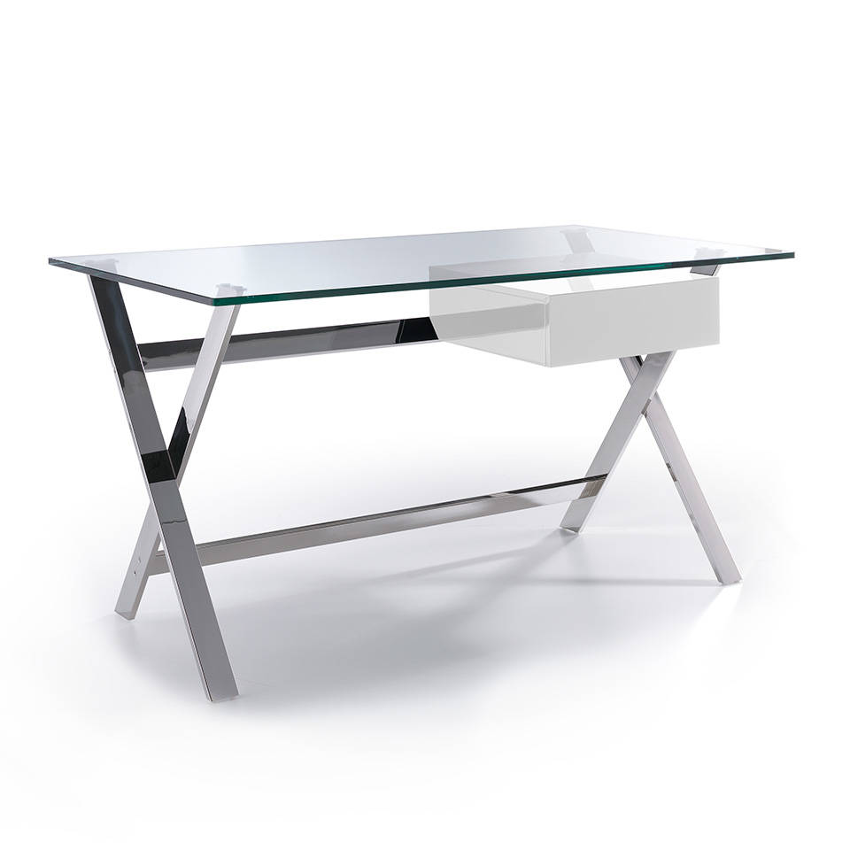Office desk with tempered glass top and lacquered Mdf drawer. Stainless steel frame.