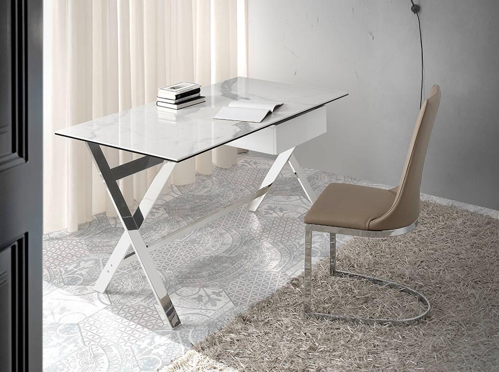 Mesa de escritorio con tapa de m rmol porcel nico blanco y for Marmol blanco con vetas negras