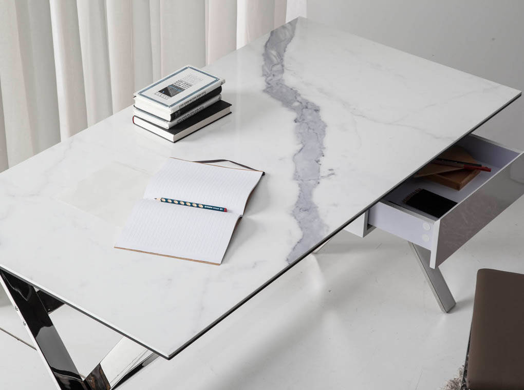 Office Desk With White Porcelain Marble Coverand Stainless Steel Structure.