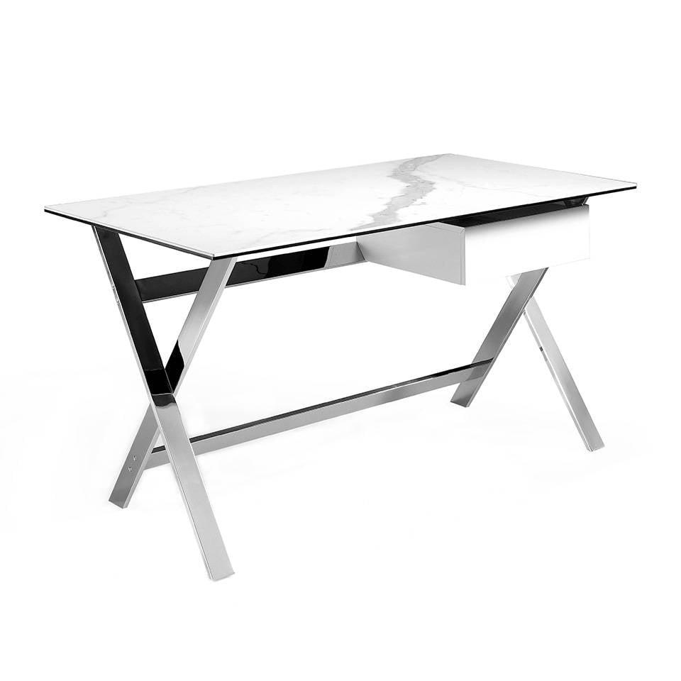 Mesa de escritorio con tapa de mármol porcelánico blanco y estructura de acero inoxidable