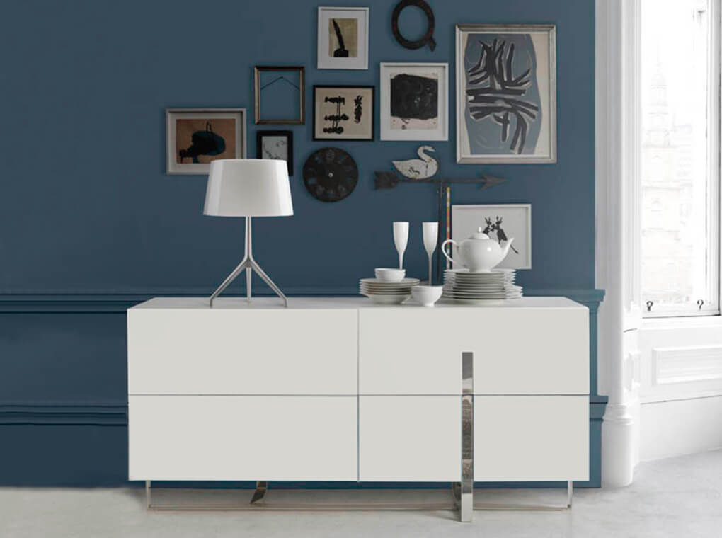 Sideboard in lacquered Mdf with stainless steel frame