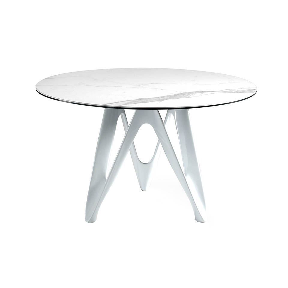 Dining table with white porcelain marble cover and fibre glass base.