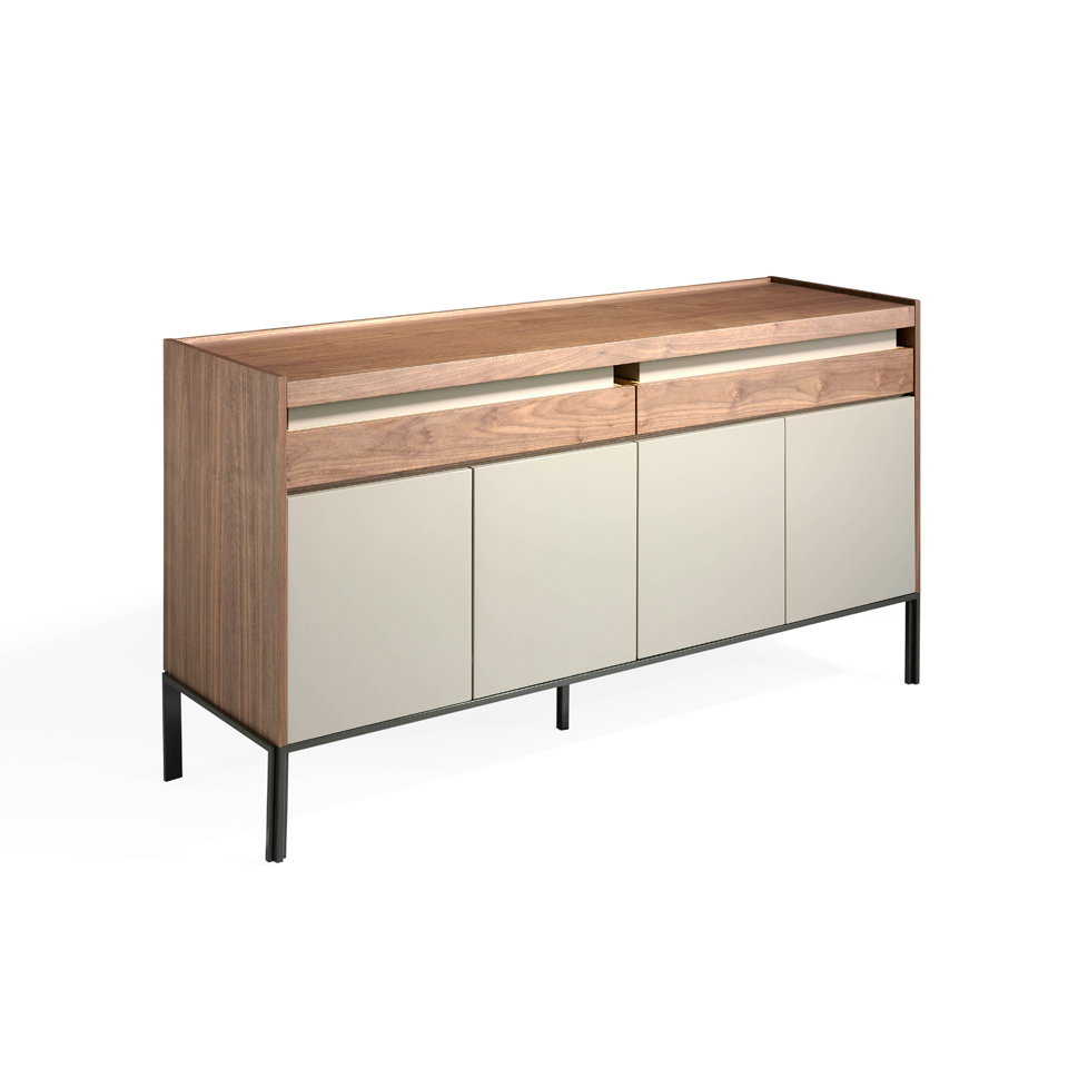 Walnut wood sideboard and light grey doors