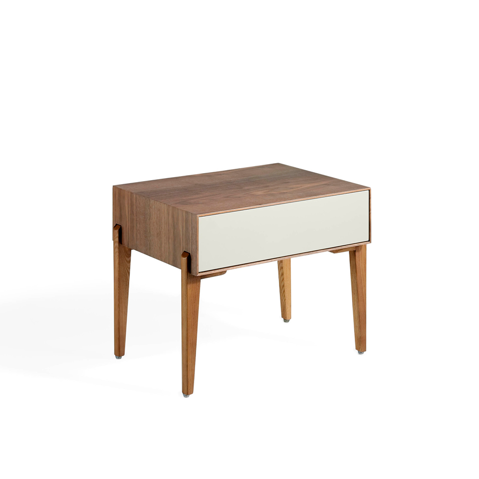 Walnut wood nightstand with silk drawer