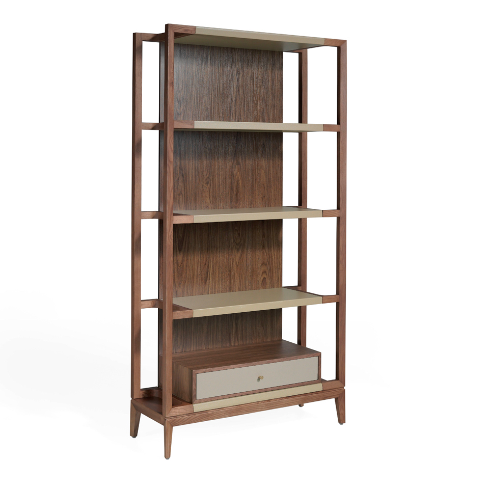 Walnut veneer solid wood bookcase
