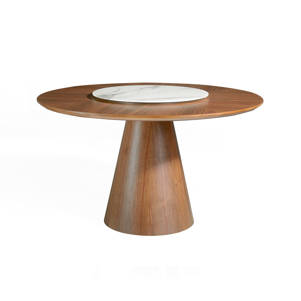 Round dining table made of wood and walnut veneer