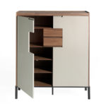 Walnut wood shoe cabinet with light gray doors