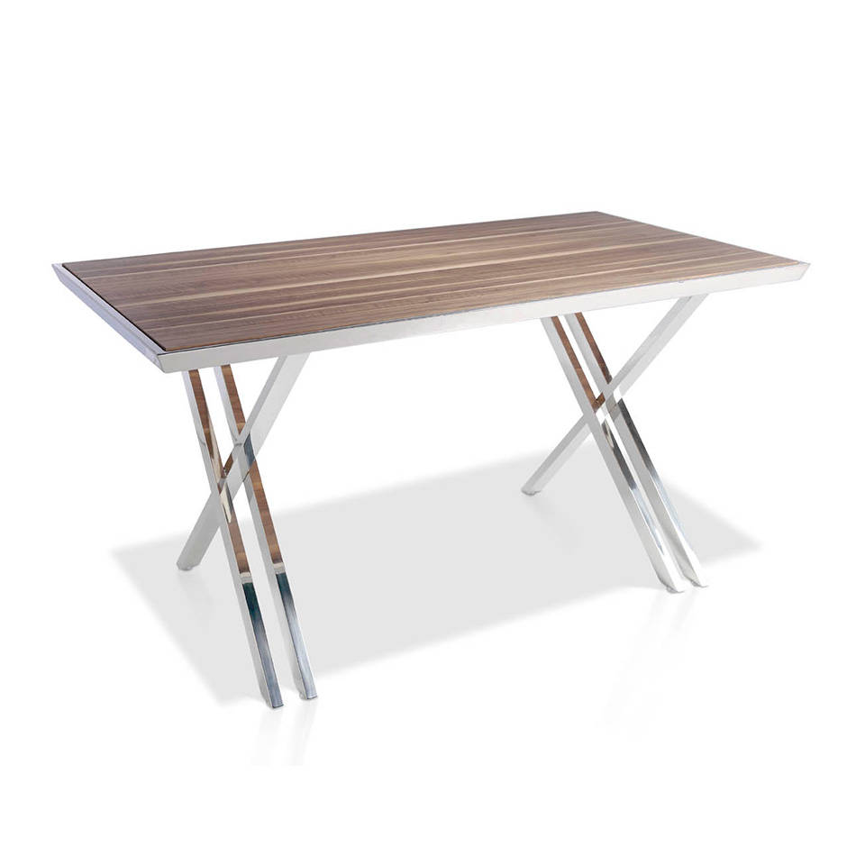 Office desk with stainless steel frame