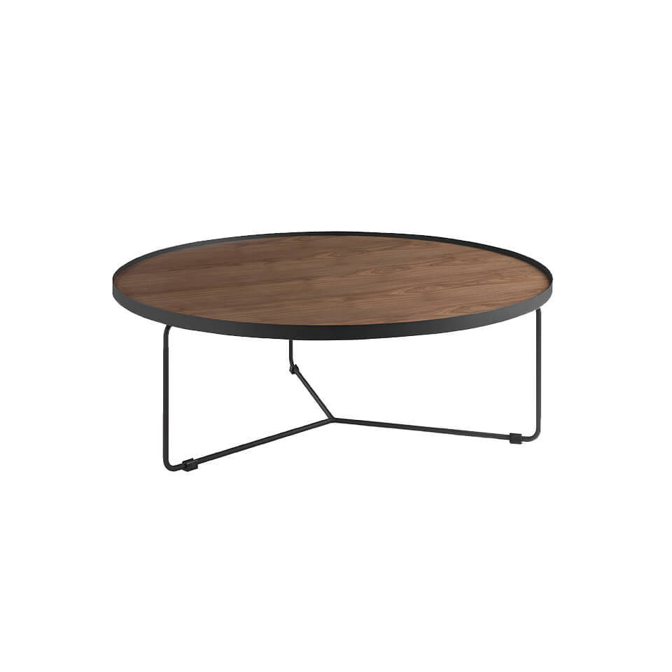 Centre table with a metallic structure and Walnut...