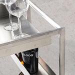 Minibar trolley in polished steel and Walnut wood