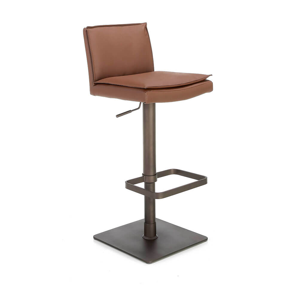 Stool Upholstered in brown leatherette with legs in brown epoxy